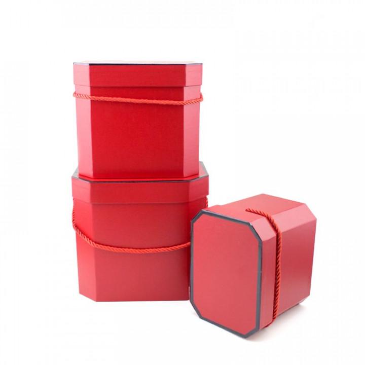 Коробка Лакшери Красный восьмиугольник 18,5*14*15 см
