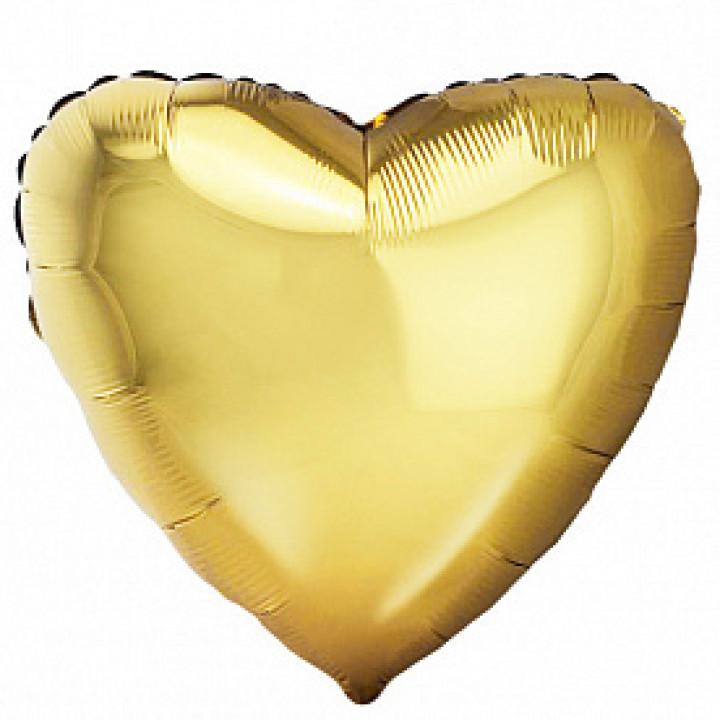 Фольгированный шар сердце Античное Золото
