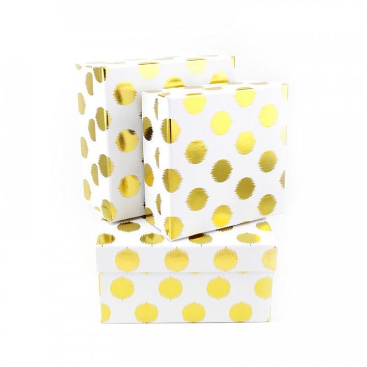 Коробка Золотые круги на белом  квадрат15*15*6,5см