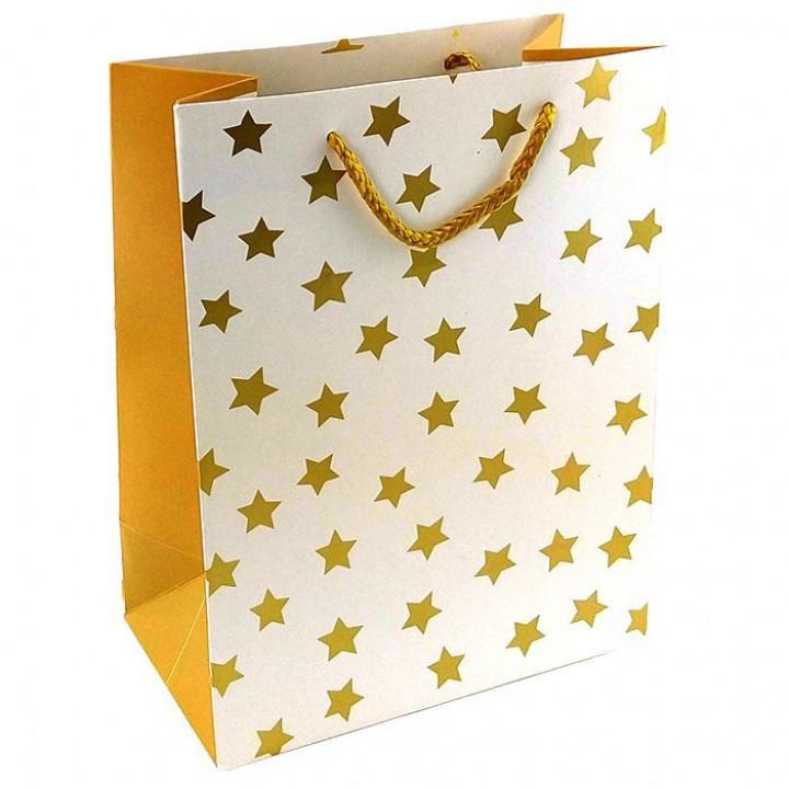 Пакет Золотые звезды на белом 31*42*12 см