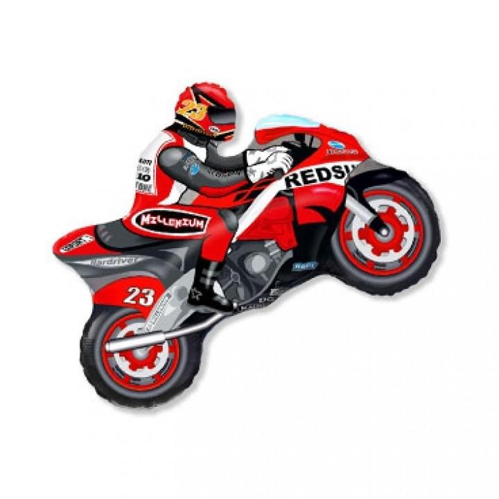 Мотоциклист красный