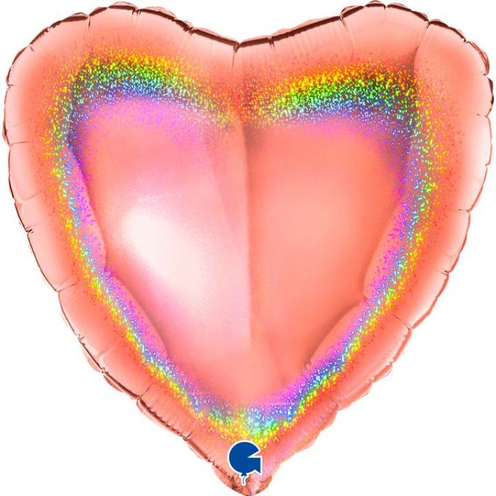 Фольгированный шар сердце Розовое золото голография