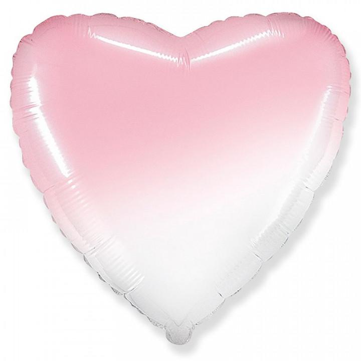 Фольгированный шар сердце Бело-Розовый градиент