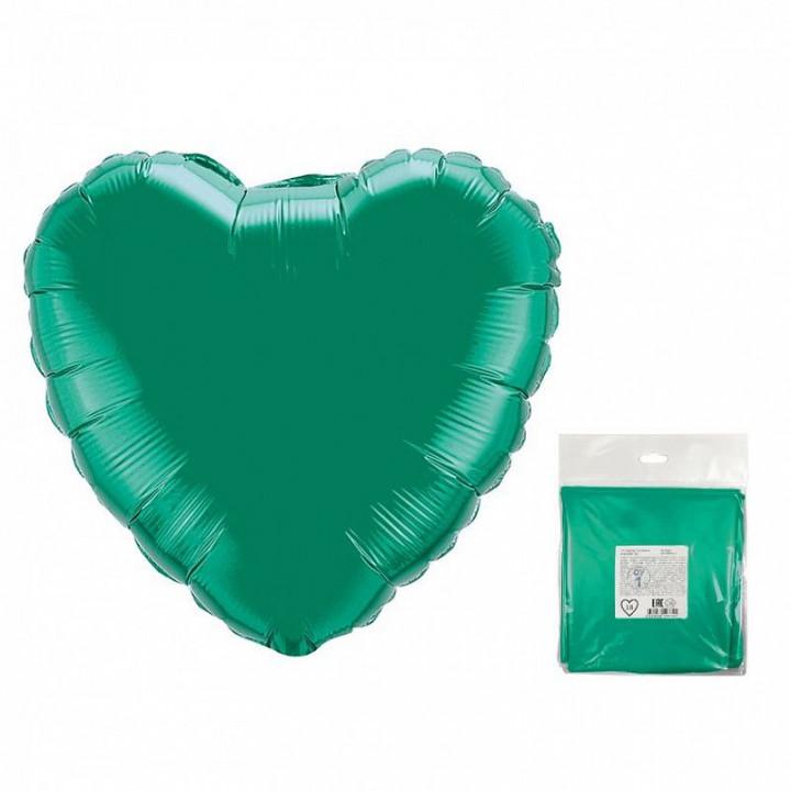 Фольгированный шар сердце зелёный в упаковке 5шт