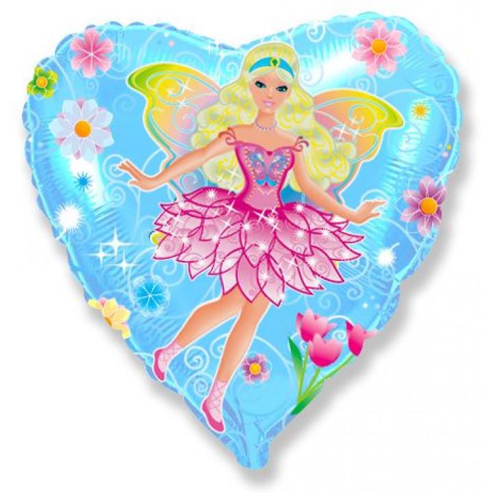 Фольгированный шар сердце фея в цветах