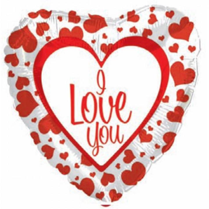 Фольгированный шар сердце Любовь (стрела) красный