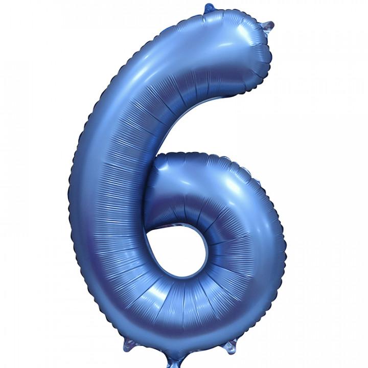 Шар (34''/86 см) Цифра, 6, Синий