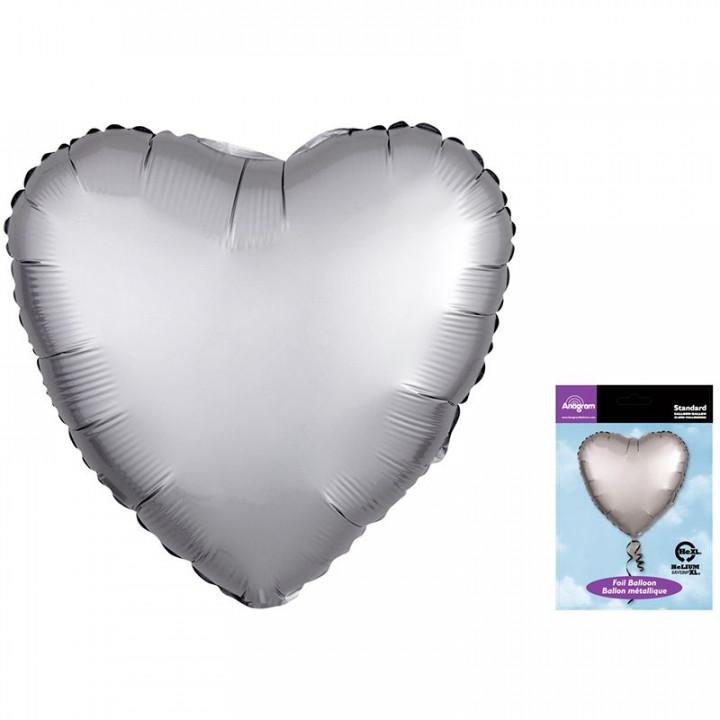 Фольгированный шар сердце Платина Сатин Люкс