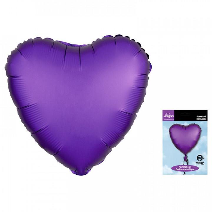 Фольгированный шар сердце Фиолетовый Сатин Люкс