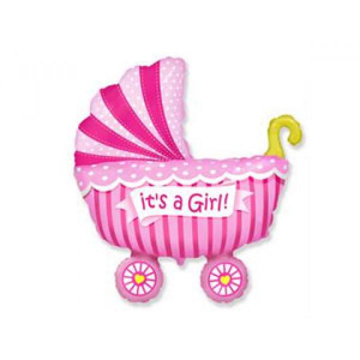 Коляска детская розовая