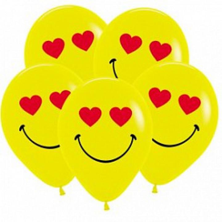Смайл влюбленный, Желтый 2 ст., 2 цв. 12 шт
