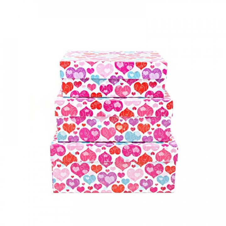 Коробка Яркие сердца прямоугольник 23*16*9,5 см