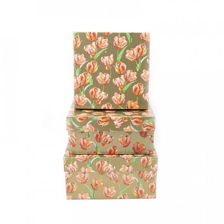 Коробка Тюльпаны на золотом квадрат 15,5*12*6,5 см