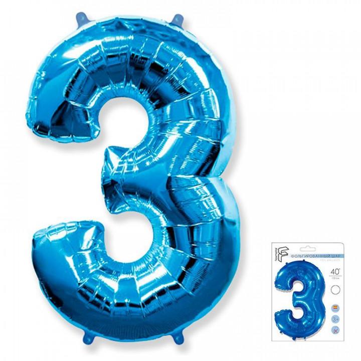 Цифра 3 синий в упаковке