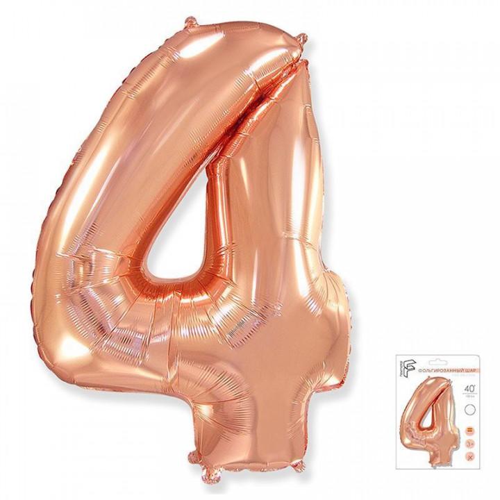 Цифра 4 розовое золото в упаковке