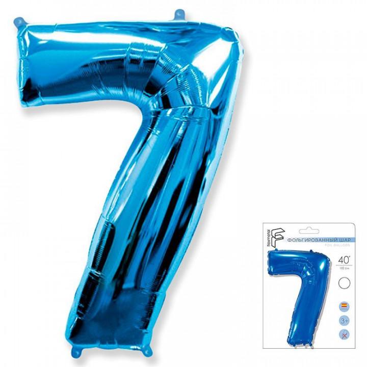 Цифра 7 синий в упаковке