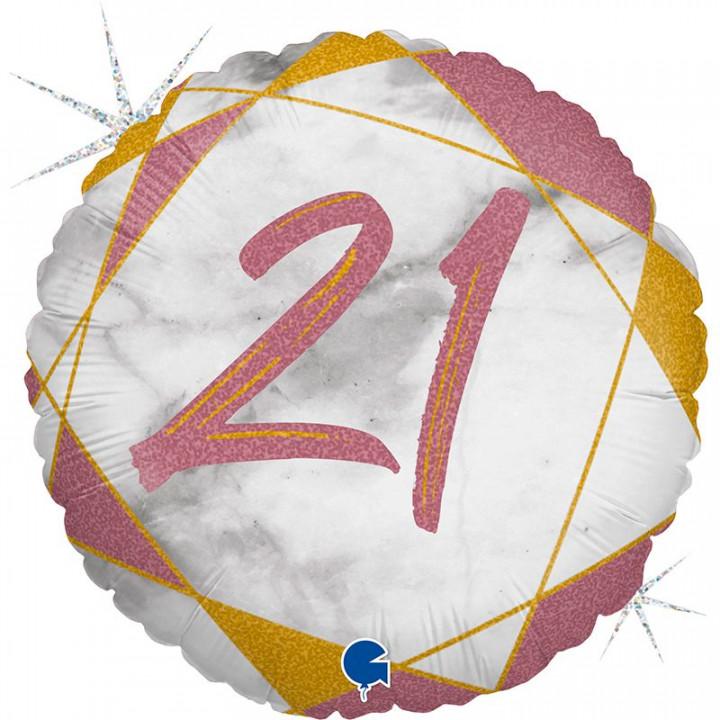 Круг Цифра 21 Мрамор Розовое золото