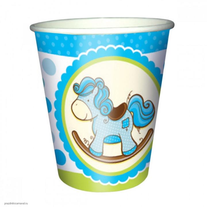 Стаканы бумажные Лошадка Малыш голубая 6шт