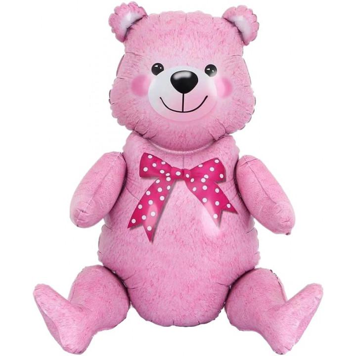 Сидячий мишка Розовый