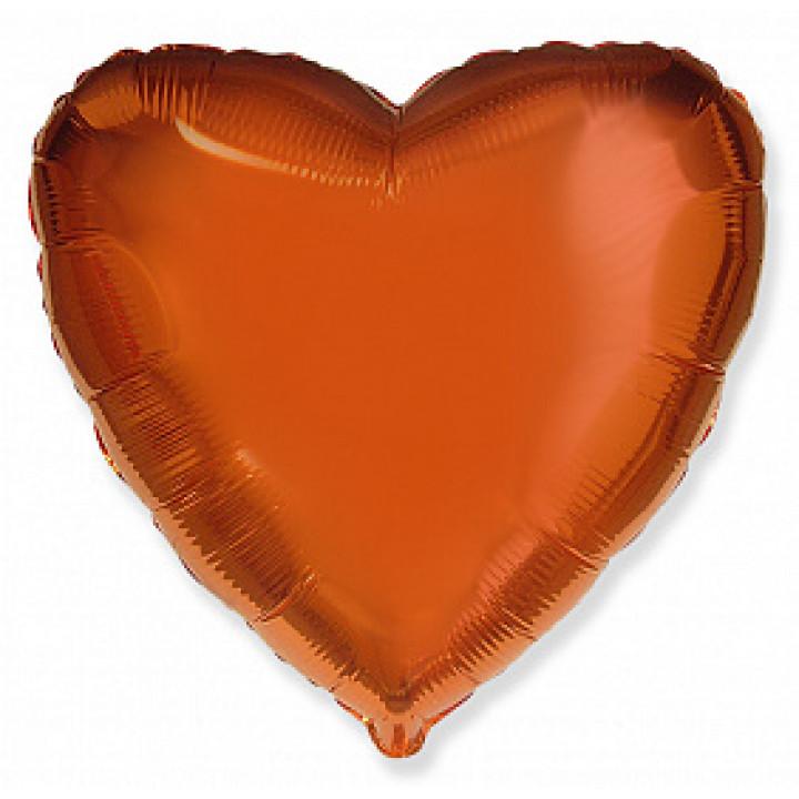 Фольгированный шар сердце ORANGE
