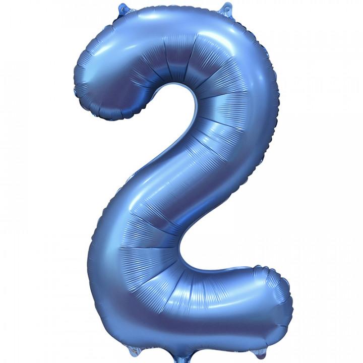 Шар (34''/86 см) Цифра, 2, Синий, Сатин