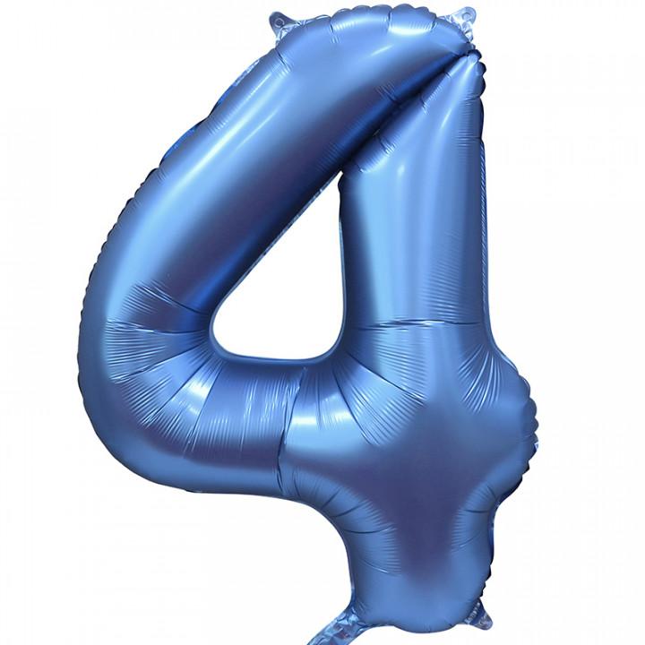 Шар (34''/86 см) Цифра, 4, Синий Сатин