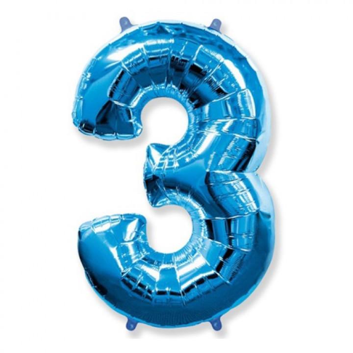 FM Фигура Цифра 3 голубая 36
