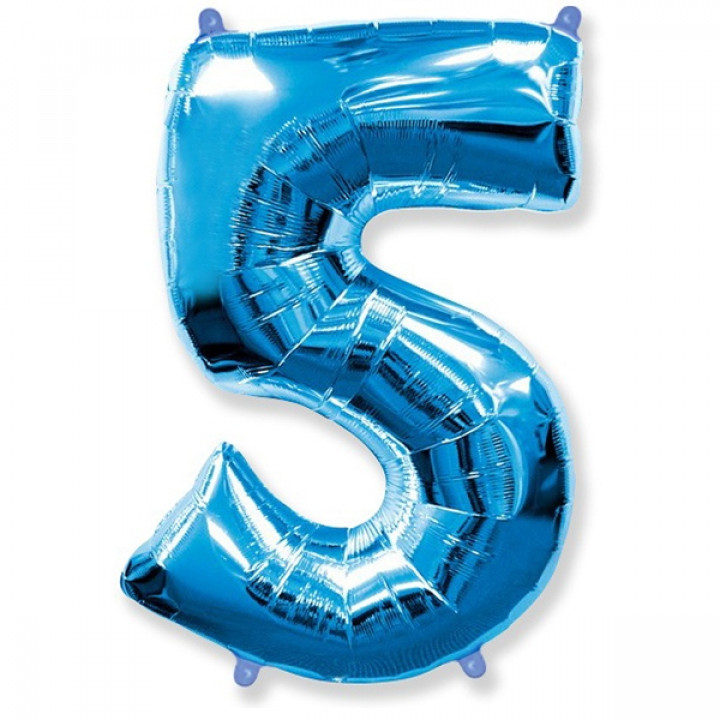 FM Фигура Цифра 5 голубая 36