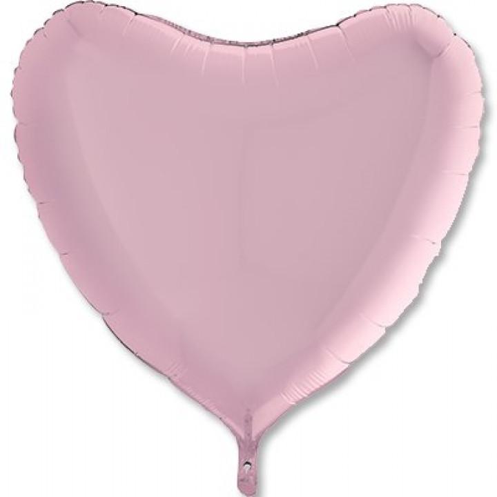 Фольгированный шар сердце пастель Pink