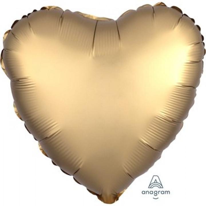 Фольгированный шар сердце Сатин Gold Sateen